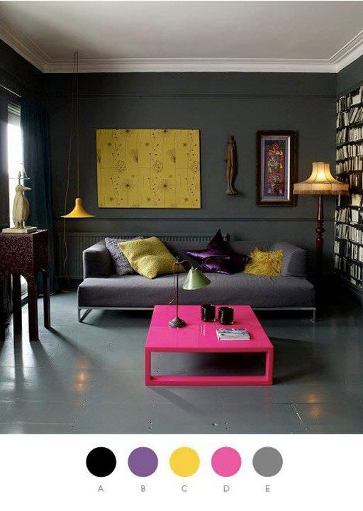 Grey color scheme with pops of yellow and fuchsia to brighten up the mix.