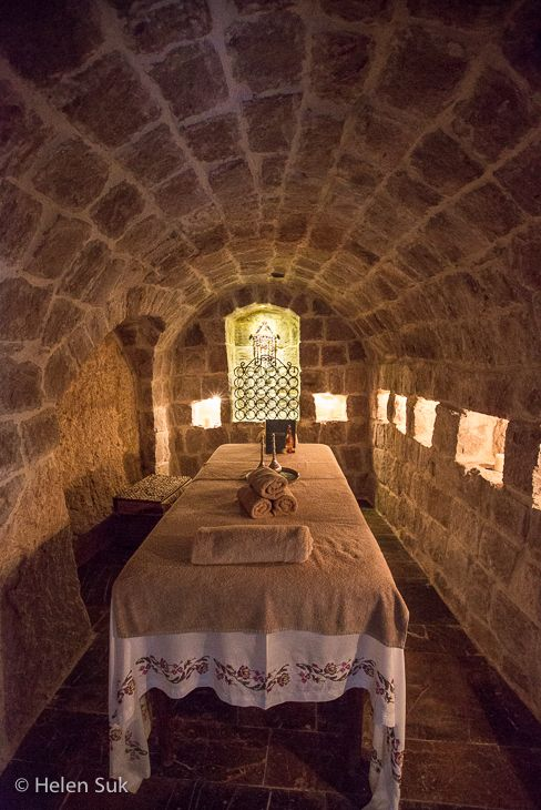 A private massage chamber at the Museum Hotel, a luxury cave hotel in Cappadocia that is actually a museum! Click to learn more about it.