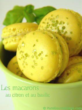Macarons citron basilic http://www.puregourmandise.com/recettes/231.htm