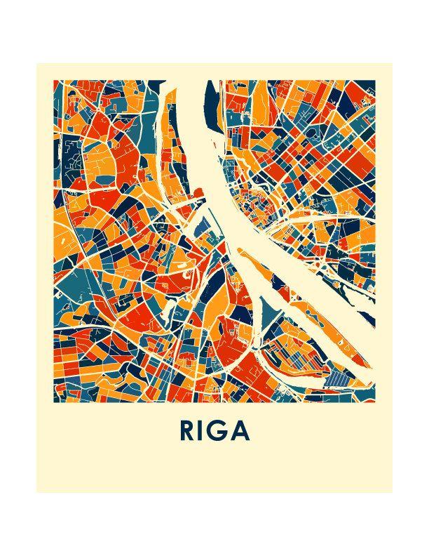 Riga Karte drucken Full Color Map Poster von iLikeMaps auf Etsy