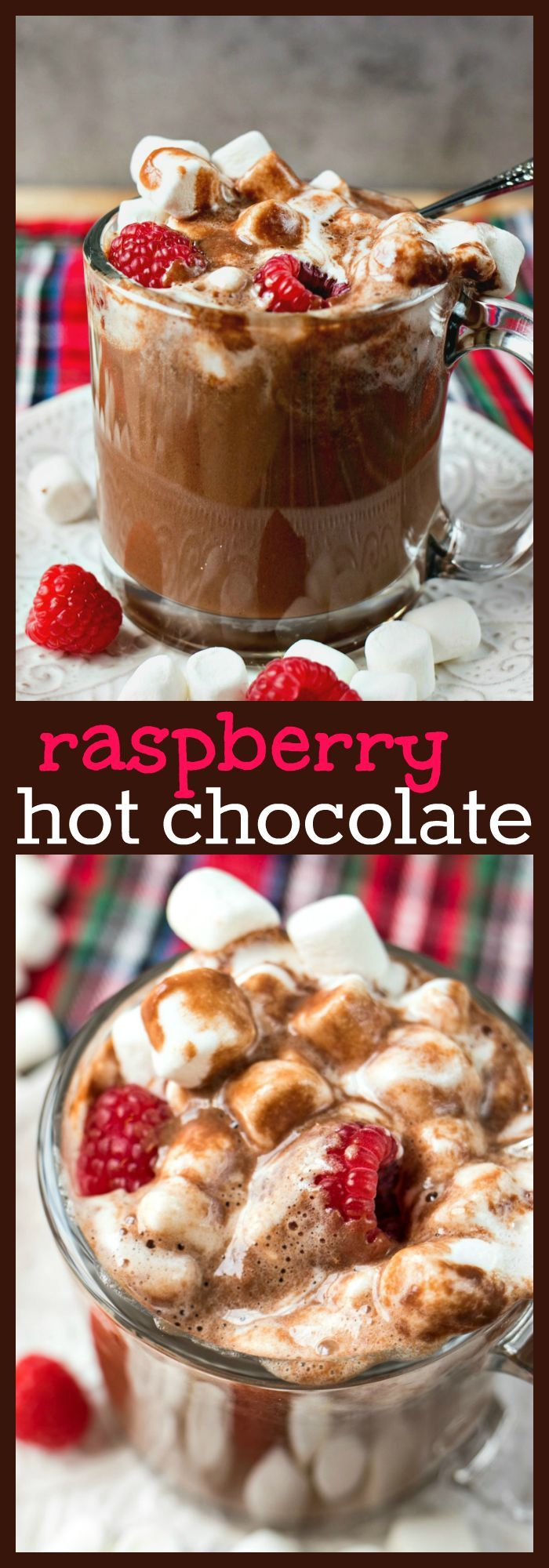 Raspberry Hot Chocolate – Creamy homemade hot chocolate made with a fruity addition – fresh raspberries! #hotchocolate #chocolate #raspberry #dessert #ComfortFood