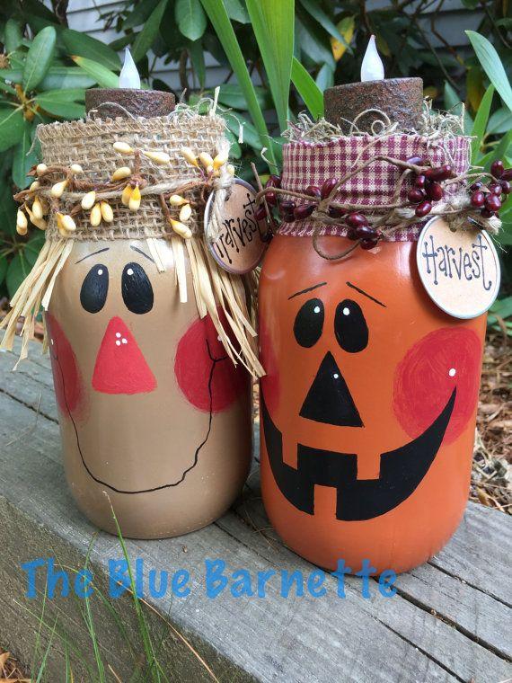 Scarecrow mason jar handpainted mason jar by TheBlueBarnette