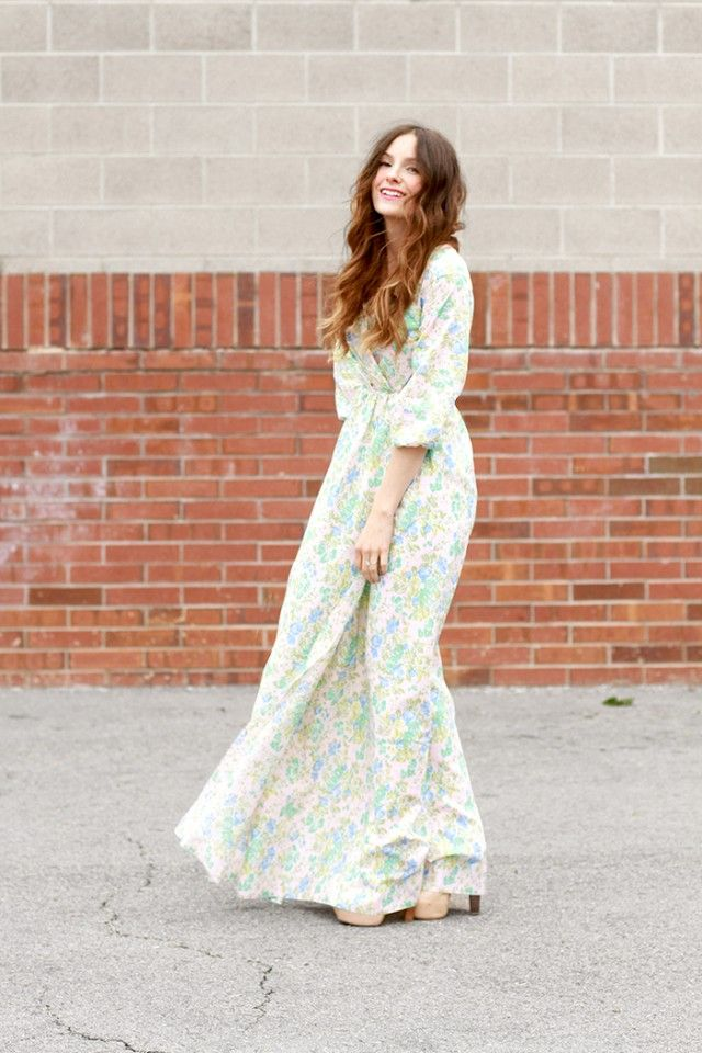 Wrap maxi dress.. I am so impressed by these women who just take an old top and make a pattern out of it!!