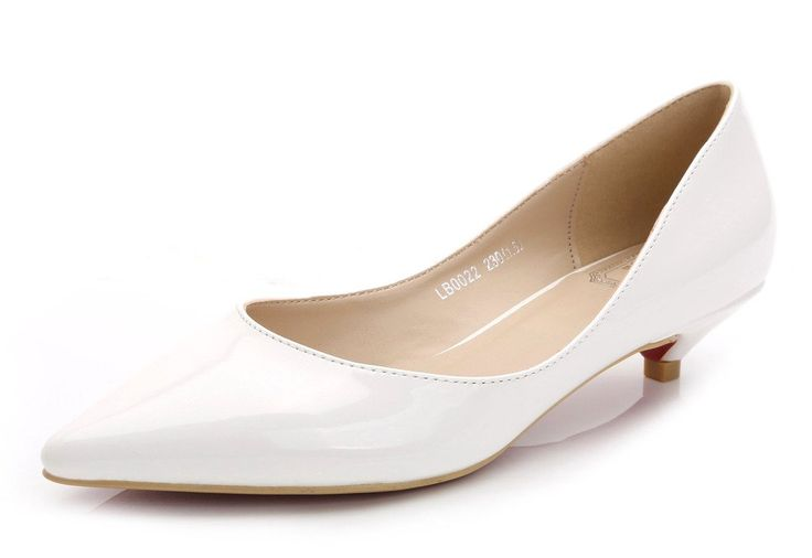 Women's Fashion Cute Slip On Pointed Toe Dress Shoes Low Heel Pump Ladies Shoes White PU Leather Size 10.5 EU43. Heel hight: 3 cm (1.18 inches);The kitten heels run small !!!. If your feet are IN NORMAL WIDTH, select 1 size up;. If your feet are WIDE or FAT, select 1.5 size up;. If your feet very NARROW, select 0.5 size up. Kitten heels featured with shallow mouth, slip-on closure, pointy toe silhouette, man-made patent suede leather. The heel has just comfortable height to elongate legs…