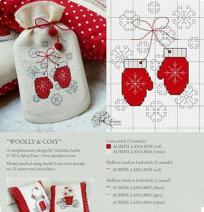 winter mitten cross stitch