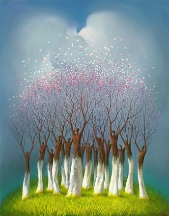 "'Spring Delight' - by Vladimir Kush | ""Spring Flowers of fruit trees flaring up as birds is the metaphor of celebration, spring and youth. In Ancient Rome, the victorious conquerer, the winner, whether in war or Olympic Games, was showered in flowers."""