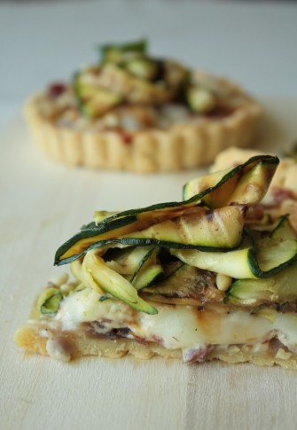courgette and tallegio tart ith polenta pastry