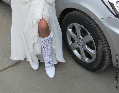 Сапожки Кружевной гламур. - свадебные сапожки,летняя обувь,вязанные сапоги