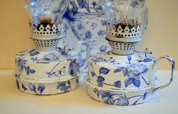 """Купить Керосиновые лампы """"Blue roses"""" ( 2лампы) - лампа, керосиновая лампа, гжель, розы"""