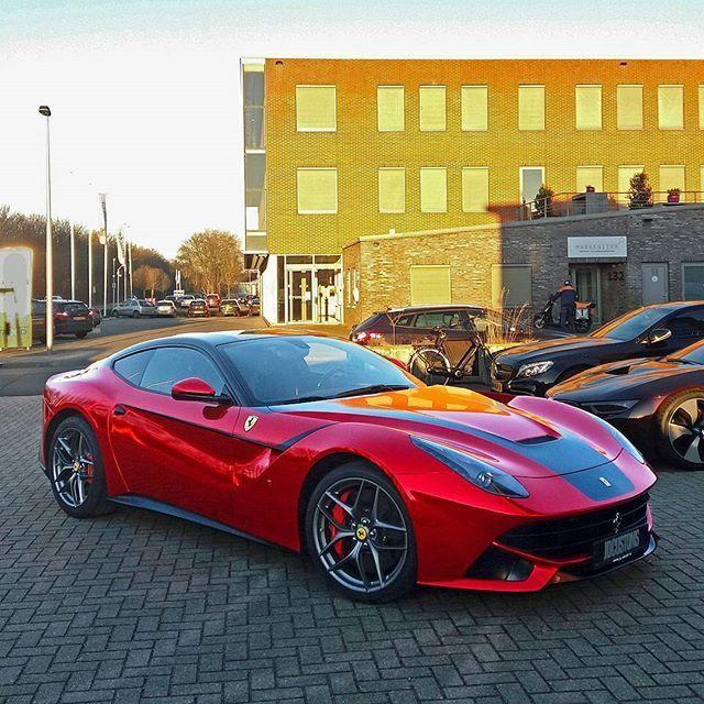 Afrojack His New Whip Chrome Red Wrapped Ferrari F12 Berlinetta