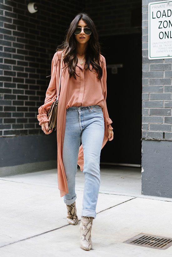 spring outfit, fall outfit, street style, street chic style, casual outfit, night out outfit - pink chiffon tunic shirt, high waist skinny jeans, snake print ankle boots, grey shoulder bag, aviator sunglasses