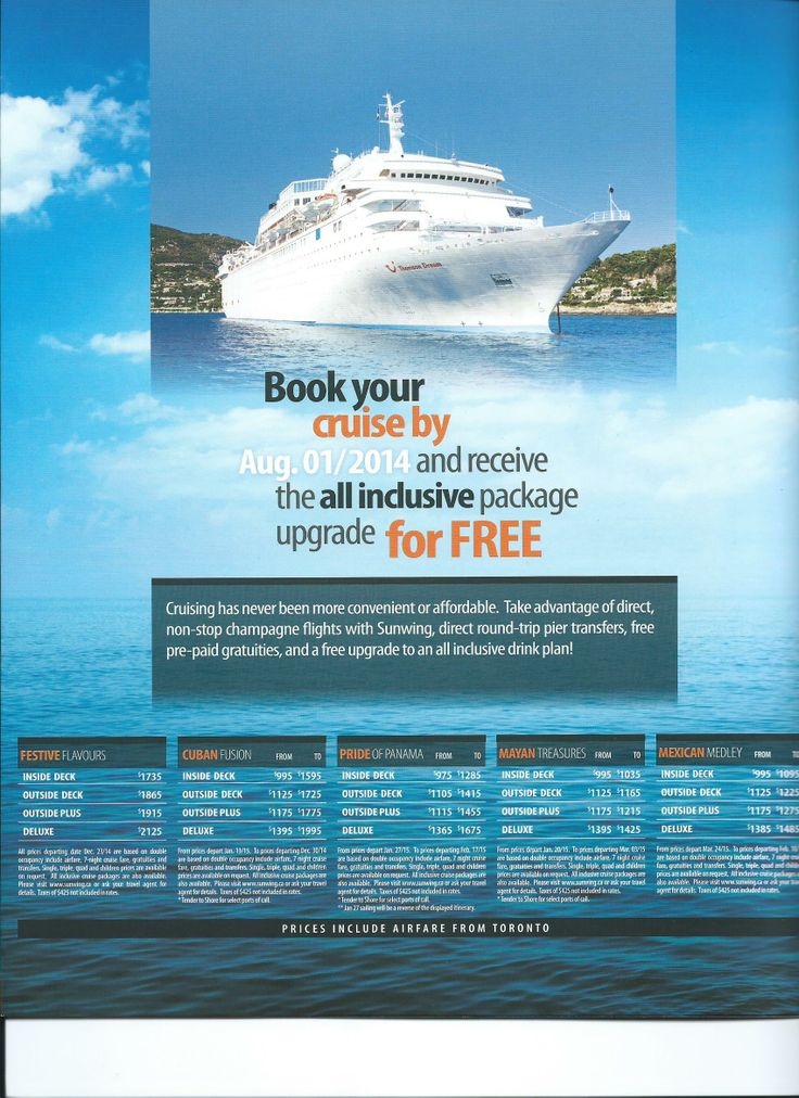 ALLINCLUSIVE Cruises From Canada Book By AUG Package - Cruise packages with airfare