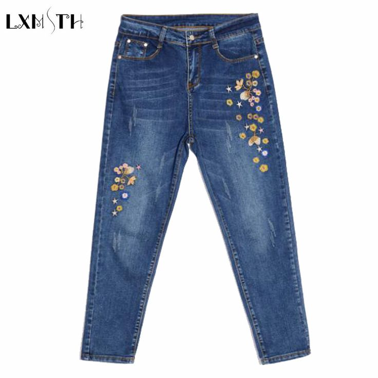 Dames Geborduurde jeans 2017 Lente Nieuwe Slanke Potlood Broek jeans Hoge Taille Enkel Lengt Broek Voor Vrouwen Mode Denim Broek(China (Mainland))