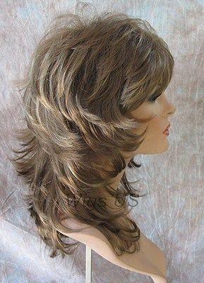 Medium Wig Light Brown Dark Blonde Wavy Multi Layers Choppy Bangs Volume USA