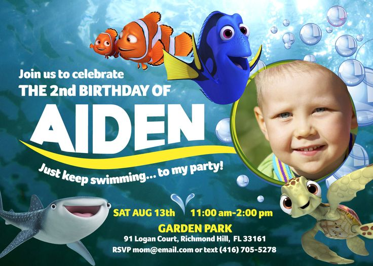 Finding Dory Invitation for Boys | Customize it with your boy as the star of the invite! Along with his favorite marine friends: Dory, Marlin, Sea Turtles and much more. #findingdory #FindingDoryEvent #HaveYouSeenHer #findingnemo #dory #justkeepswimming #myheroathome #SpeakLikeAWhaleDay #FindingDory