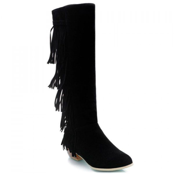 Retro Fringe and Suede Design Women's Knee-High Boots #jewelry, #women, #men, #hats, #watches, #belts, #fashion