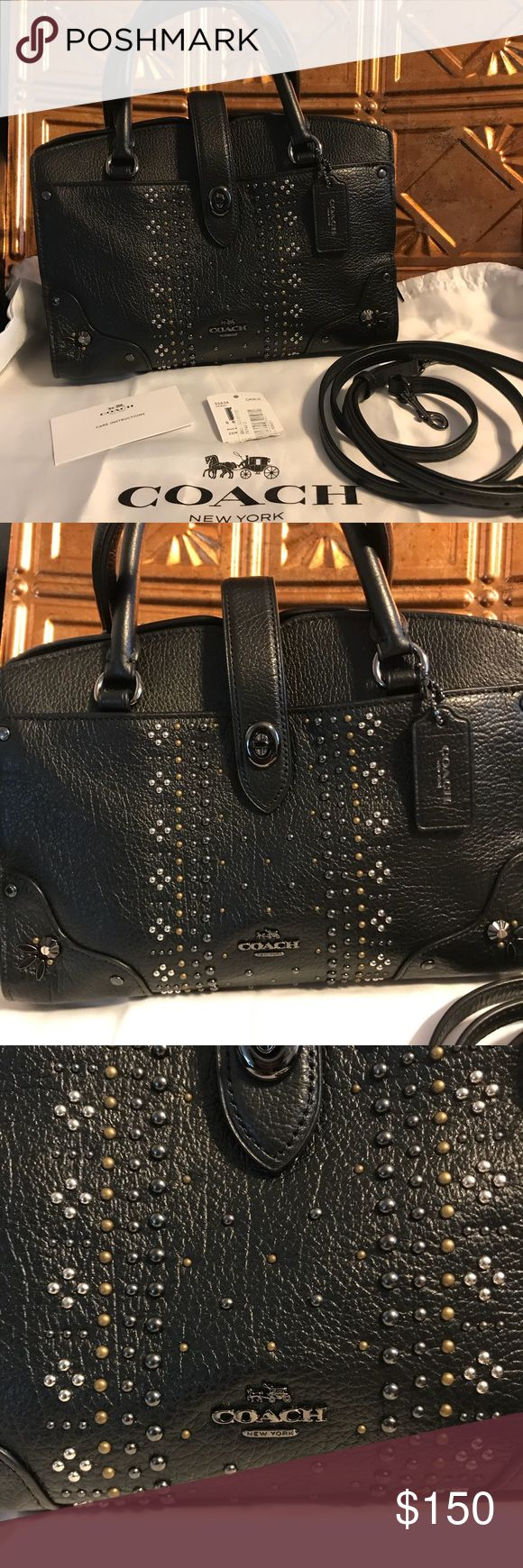HOT!!!!! Coach Mini Crossover Handbag with strap! Used twice! In epic condition! It is adorable and all intact! Nothing wrong at all :) I am a Writer so I always have a hard time looking or getting the perfect bag! Lol I need big bags! But this is super cute for a nite out or just as a regular handbag! Hot deal and hot item lady's! Comes with strap and care card and price tag and duster! Sorry can not help with measurements don't own a tape ruler the strap is adjustable! PRICE IS AS IS and…