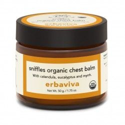 Erbaviva Sniffles Baby Chest Balm - 1.75 oz An organic natural alternative to ease baby's cough and cold symptoms, is expertly formulated with superior immune boosting essential oils of Eucalyptus, Tea Tree, Myrrh. Calendula, lavender and chamomile , while Cypress and helichrysum essential oils effectively deliver healing and antiviral elements. Apply to baby's chest, back, neck and behind the ears to relax and soothe. Purely natural and petroleum free. Certified USDA organic
