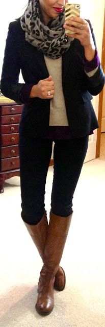 Winter work casual I love it! Except the boots could match the cream in the scarf better :)