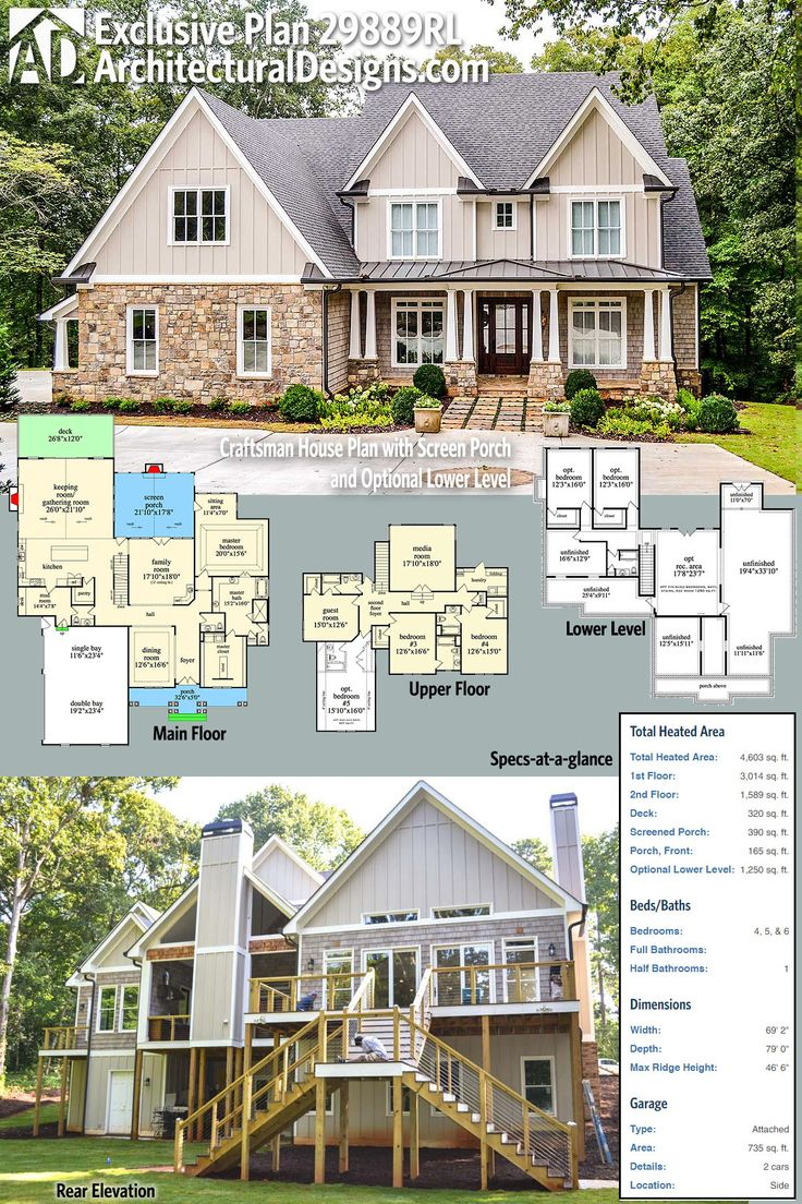 Introducing Architectural Designs Exclusive House Plan 29889RL! Enjoy 4 beds on the main two floors PLUS an optional finished lower level with 2 more and loads of expansion space. Ready when you are. Where do YOU want to build?