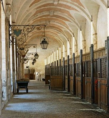 A stable with a vaulted ceiling and cobblestones.
