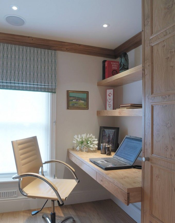 Beautiful Home Office With Modern Office Chair And Floating Desk Ikea Plus Floating Shelves And Ceiling Beams With Window Shades