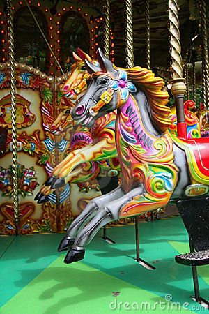 Vintage Carousel Photographs | Vintage carousel horses brightly painted