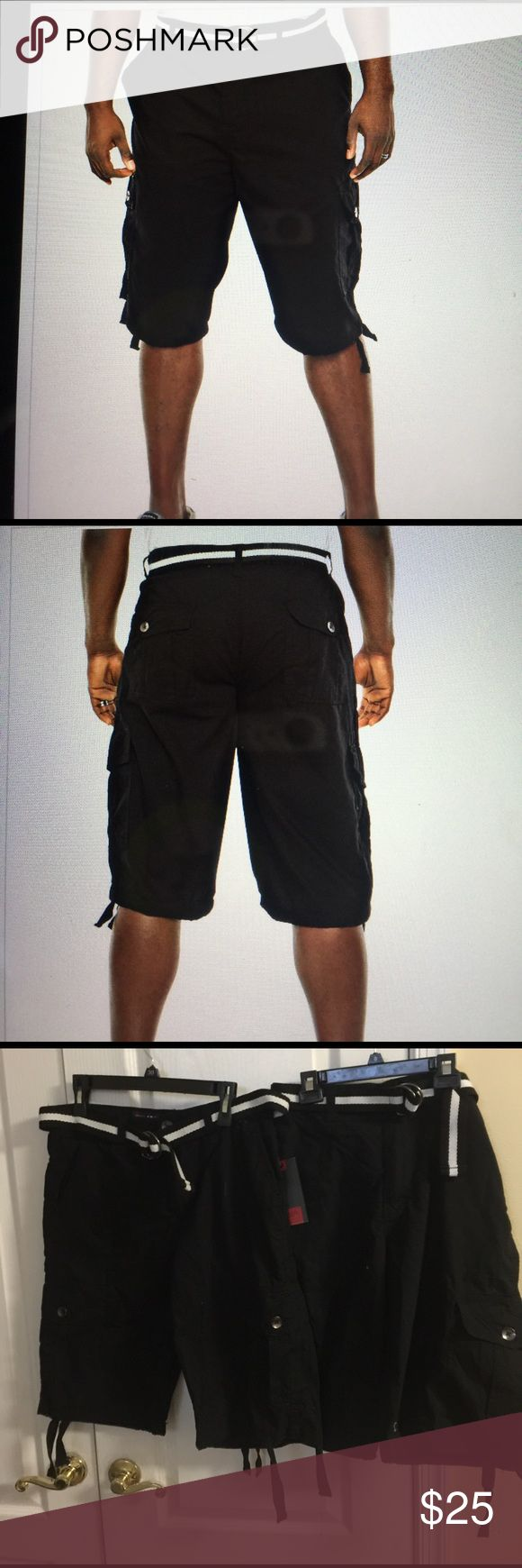South Pole Belted rips top cargo short black With plenty of storage for any need, this soft cotton cargo shorts are perfect for a day on the go. Relaxed fit, zip and button closure, Belted, 5 pocket styling, cargo pockets and straight leg. South Pole Shorts Cargo