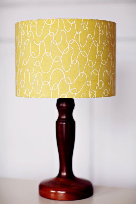 Yellow lamp shade, Lampshade, mustard home decor, retro decor, bedroom lighting, summer lighting, light shade, lamp, yellow, retro lampshade
