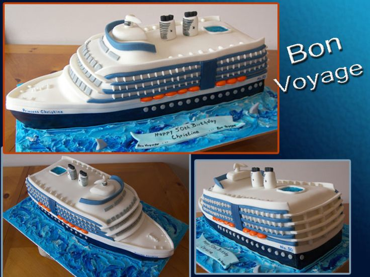 Cruise Ship Made this cruise ship for a customer who is taking a cruise for her 50th BD. 2-11x15 cakes cut down stacked and carved. TFL