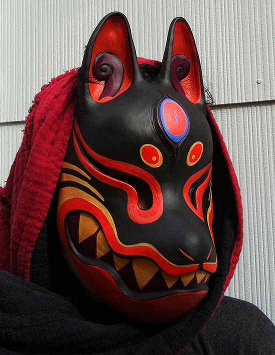 "Kitsune mask painted by missmonster.deviantart.com on @DeviantArt ---------------------------------------------------- inspiration for Kiddus' ""Hero"" form mask. Possible colour palette."