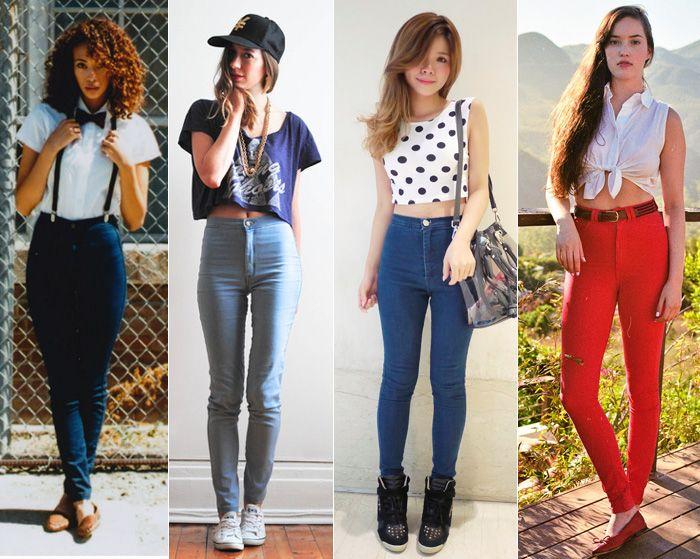 mulher usa calça cós alto