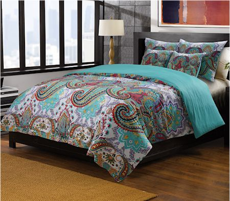 Oriental Paisley Red Turquoise Blue Bedding Twin Full