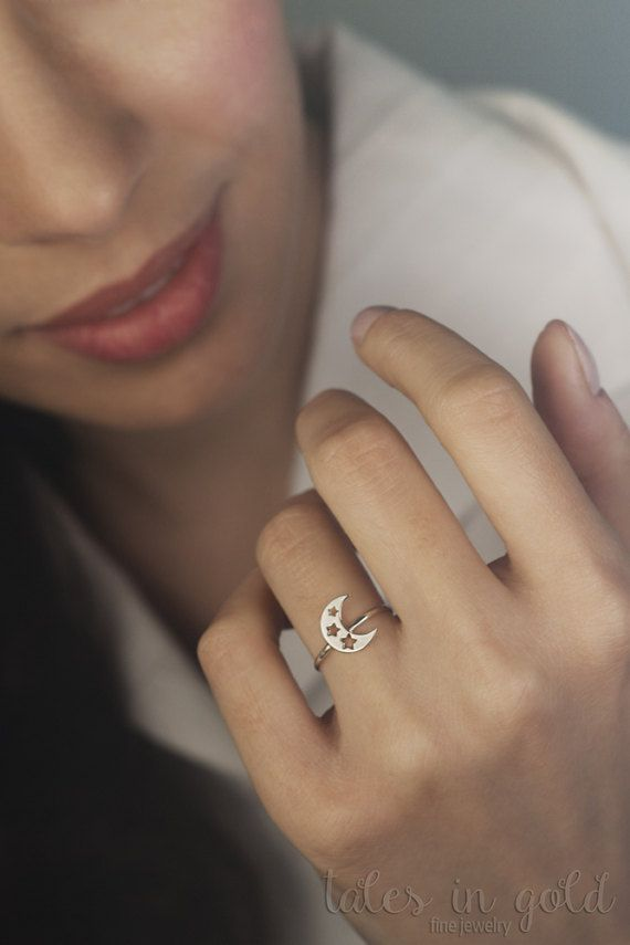 Star Ring Moon Ring Gold Ring 14 karat gold Ring by TalesInGold
