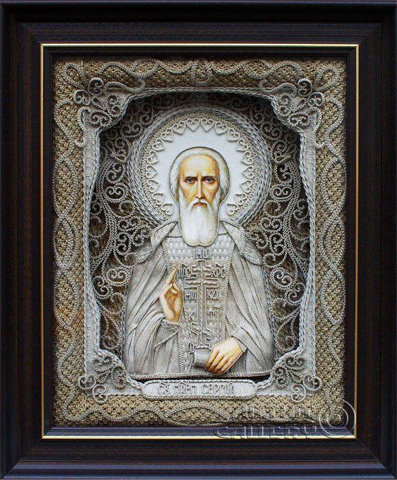 macrame, macrame art, St. Nicolas icons, icons art, religious icons, russian religious icons, icons art. Applied art. Saint Sergius of Radonezh. Denshchikov Vladimir