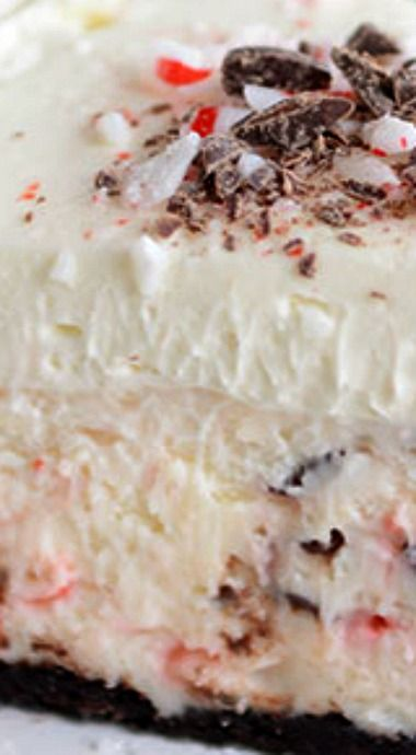 Peppermint Bark white Chocolate Mousse Cheesecake