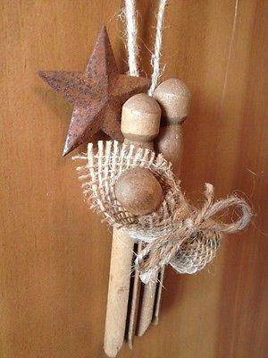 Primitive Christmas Nativity Rusty Tin Barn Star Wood Clothespin Ornament Burlap