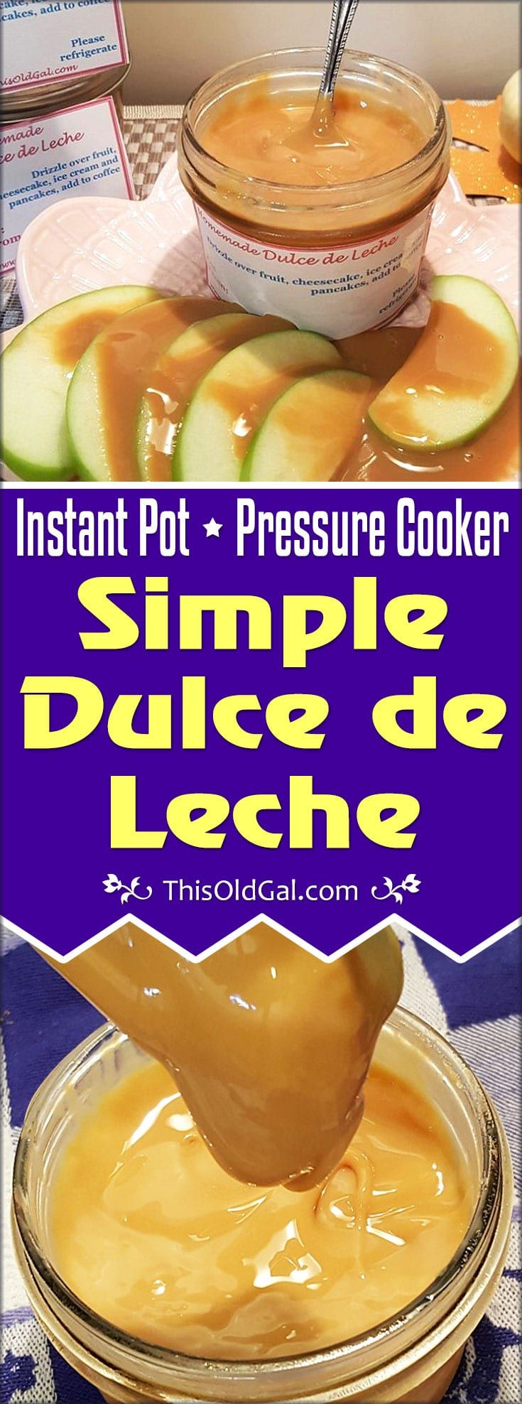 This rich and delicious Simple Dulce de Leche Recipe can be made in the Pressure Cooker or the Slow Cooker with little effort. via @thisoldgalcooks