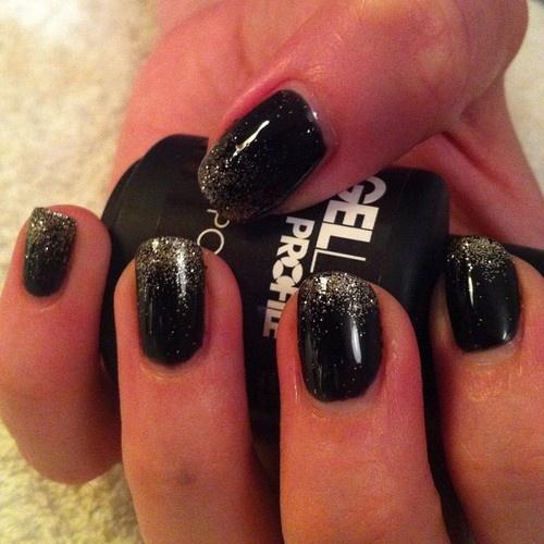 'Black Onyx' 'Gold Rush' ombré nails #gellux