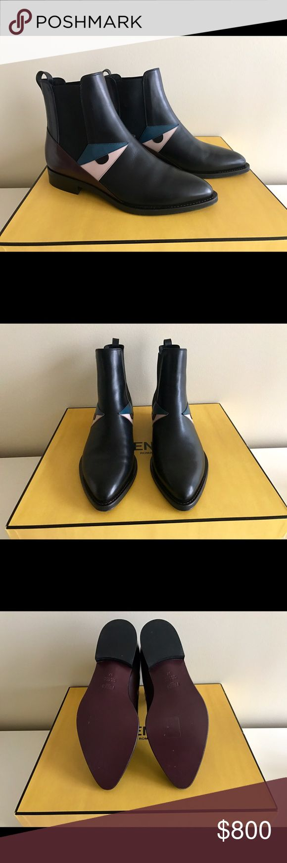 """Fendi Bug Monster Chelsea Boots Brand new in box with dust bags. Size 37. 1"""" heel, 5"""" boot shaft. Classic Chelsea boots with famous Fendi monster motif. Fendi Shoes Ankle Boots & Booties"""