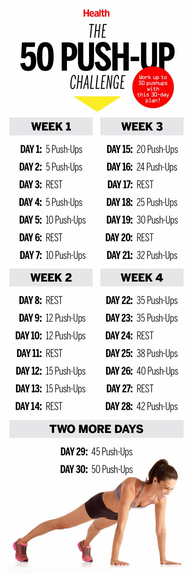 Push yourself to complete every day of this 50 push-up challenge. You'll notice that your hard work paid off when your arms look sculpted and toned in your tank tops this summer!