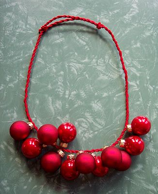 Red Christmas Ornament Necklace...Tacky Sweater party, I think yes! | Fun  Party & Holiday Ideas | Christmas, Tacky christmas, Tacky christmas party - Red Christmas Ornament Necklace...Tacky Sweater Party, I Think Yes