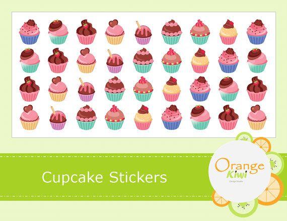 Cupcake Stickers  Planner Stickers  Cupcake by OrangeKiwiDesign