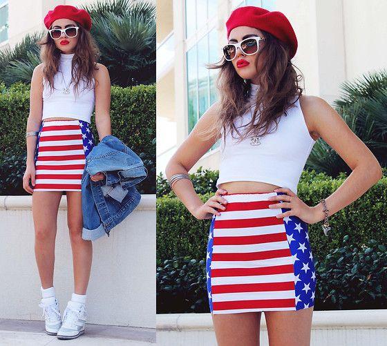 Vivid Blueprint American Flag Print Skirt, American Apparel Sleeveless White Turtleneck, Jeffrey Campbell Hidden Wedge Gios
