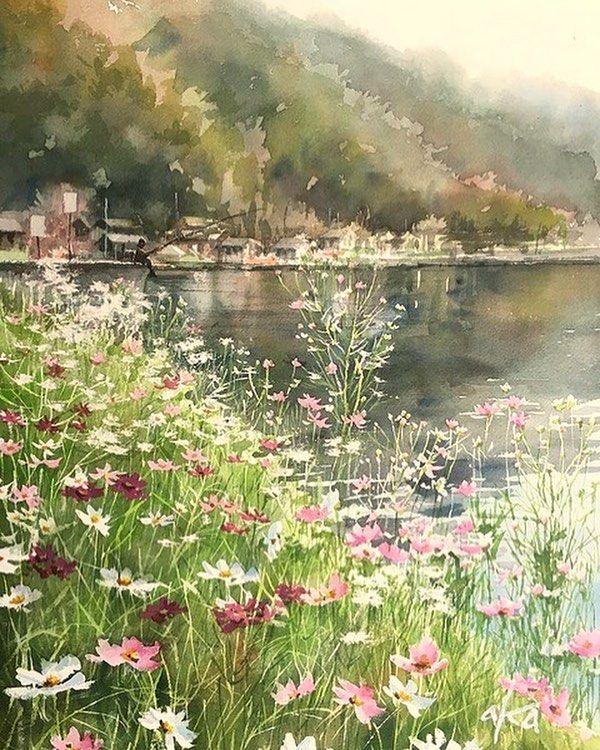 琵琶湖 菅浦 Biwa Lake Japan Artwork 透明水彩画 水彩画 アート