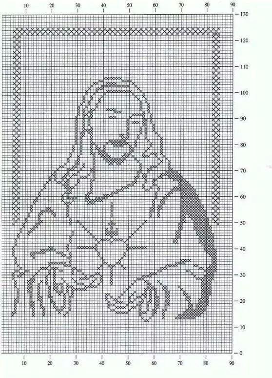 Punto de cruz: Sagrado Corazón de Jesús. Alto 92