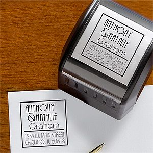 LOVE this Personalized Self-Inking Return Address Stamper! This is a great Wedding Gift or Bridal Shower gift idea for the Bride & Groom. It will save them TONS of time and money when they are sending out their Thank You Notes! This stamper comes in 5 different colors and you can personalize it for only $24.95 at PersonalizationMall! SO much affordable than all those other custom stamp places!