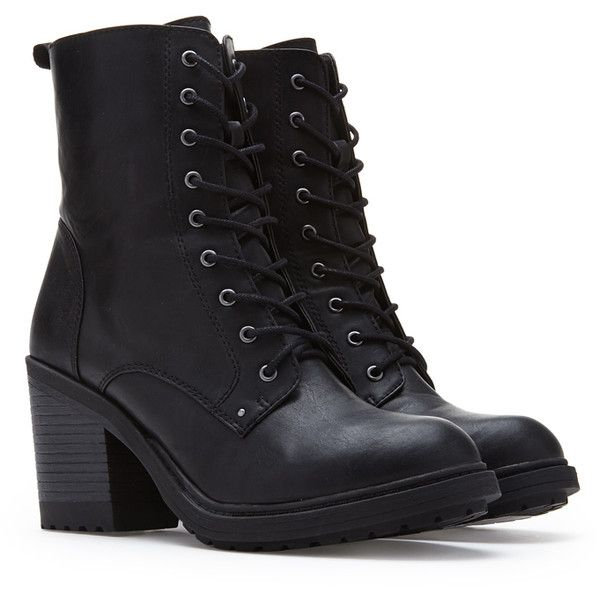 Forever 21 Women's  Lace-Up Combat Boots (Wide) ($28) ❤ liked on Polyvore featuring shoes, boots, mid-calf boots, wide width boots, high heel boots, army boots, platform combat boots and wide calf lace up boots