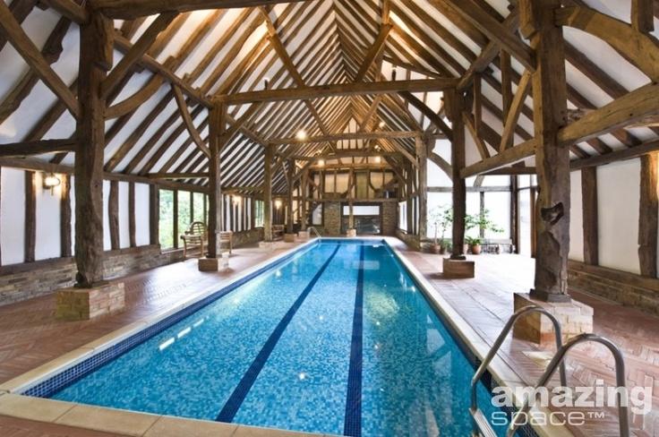 wooden beam framed swimming pool