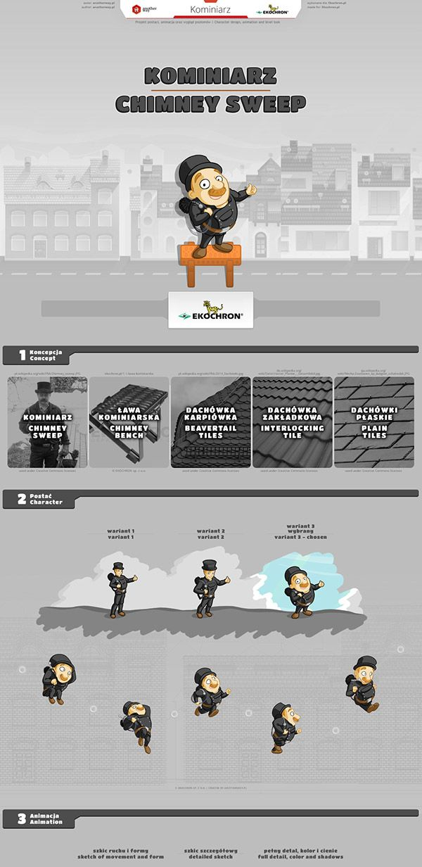 Ekochron - Chimney Sweep #animation, #character design, #level design, #game, #platformer, #chimney sweep, #roof tile, #chimney bench